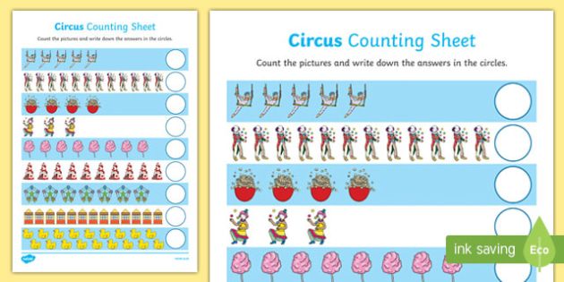 Circus Themed Counting Activity Sheet Up to 20 - circus, counting, count, activity, up to, 20, numbers, 1:1 correspondance
