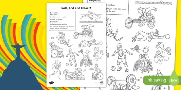 Paralympics Addition Roll and Colour Worksheet / Activity Sheet, worksheet