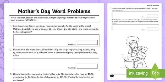 year 3 mother 39 s day addition and subtraction word problems worksheet. Black Bedroom Furniture Sets. Home Design Ideas
