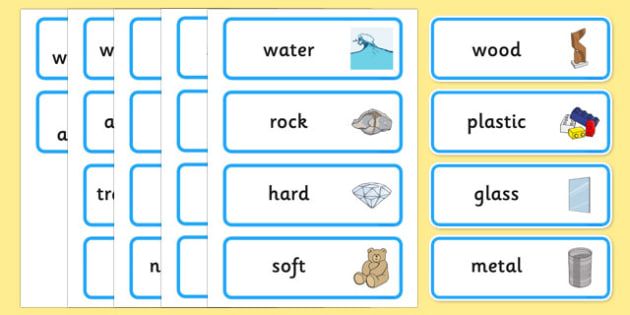 Everyday Materials Word Cards - everyday, materials, word cards, word, cards