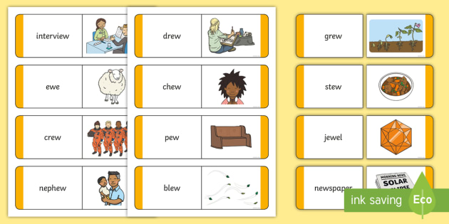 Matching 'ew' Sound Word and Picture Cards - 'ew', Sound