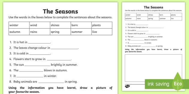 the seasons cloze worksheet worksheet comprehension guided reading. Black Bedroom Furniture Sets. Home Design Ideas