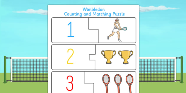Wimbledon Themed Counting Puzzle - tennis, sports, pe, count