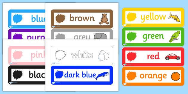 Colour Labels - colours, labels, drawer legs, peg labels, themed labels, drawer peg labels, name labels, peg name labels, drawer name label, coloured label