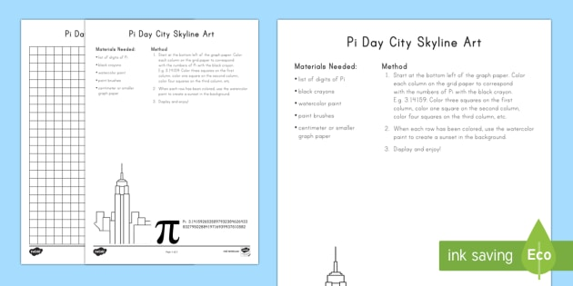 Pi Day City Skyline Art Activity Pi Day Printables Color