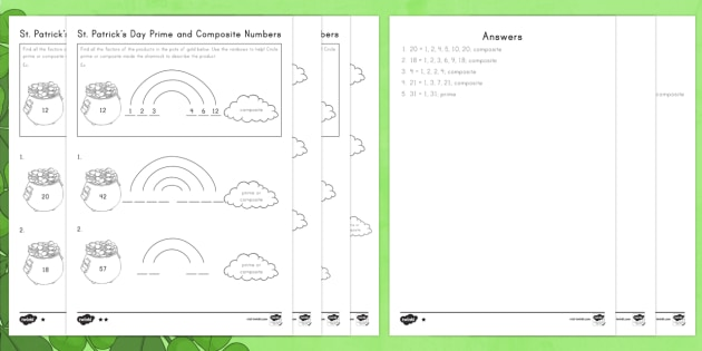 st patricks day prime and composite numbers differentiated worksheet  st patricks day prime and composite numbers differentiated worksheet   activity sheets  st