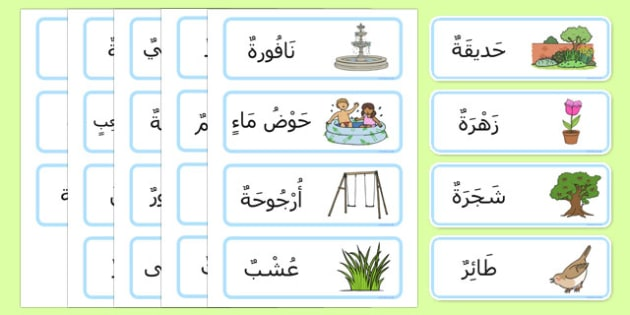 Garden Word Cards Arabic Short Vowels - arabic, garden, word cards, word, cards, back garden, outside, short vowels