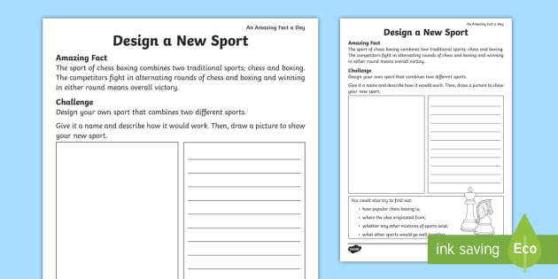 design a new sport worksheet activity sheet amazing fact of