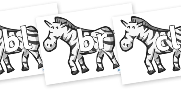 Initial Letter Blends on Zebras - Initial Letters, initial letter, letter blend, letter blends, consonant, consonants, digraph, trigraph, literacy, alphabet, letters, foundation stage literacy