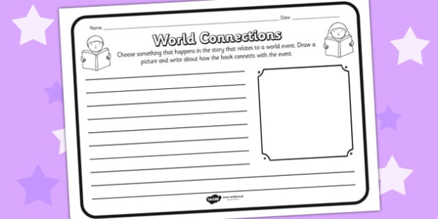 World Connections Comprehension Worksheet - world connections, comprehension, comprehension worksheet, character, discussion prompt, reading, discuss
