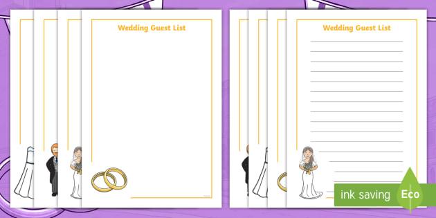 New  Wedding Guest List Activity Sheet  Eyfs Royal Wedding