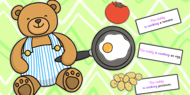 Teddy Cooking Sentence Activity - sentence, activity, cooking