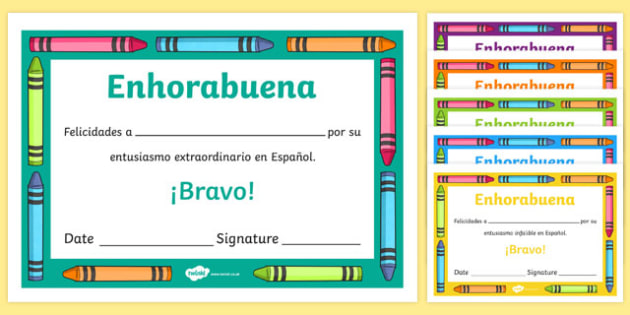 Spanish End of Year Enthusiasm Award Certificate