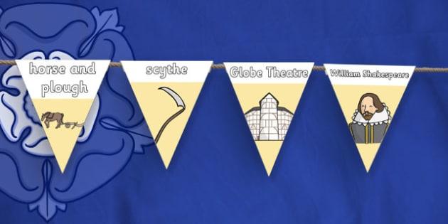 The Tudors Display Bunting - the tudors, display bunting, display, bunting, history, time