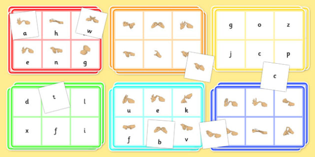 British Sign Language Alphabet Bingo And Lotto Game Left Handed