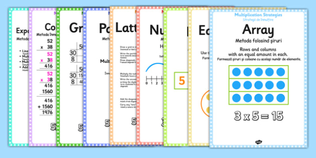 Multiplication Strategy Posters Romanian Translation - romanian, multiplication, display, poster