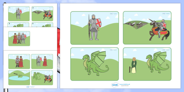 St George And The Dragon Story Sequencing Cards - St George, princess, maiden, dragon, Margaret Hodges, sequencing, story sequencing, story resources, A4, cards, king, story book, book, book resources, story