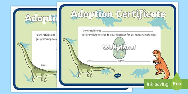 Adopt a Reading Dinosaur Certificate