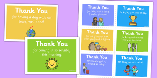 Thank You Notes Children in School - thank you, note, behaviour, positive, thanks, praise