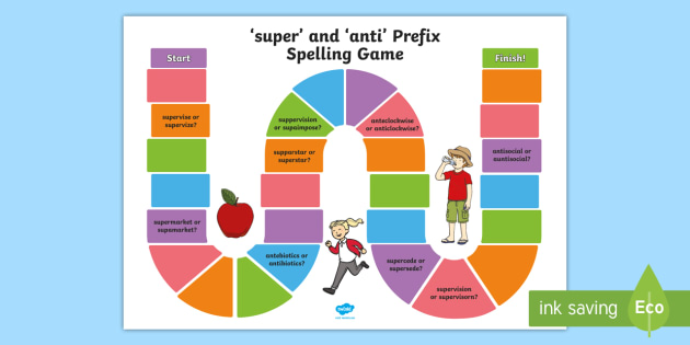 Words Beginning With 'super' and 'anti' Spelling Board Game