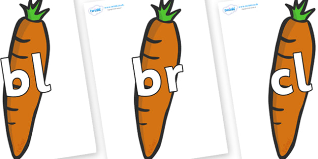 Initial Letter Blends on Carrots - Initial Letters, initial letter, letter blend, letter blends, consonant, consonants, digraph, trigraph, literacy, alphabet, letters, foundation stage literacy