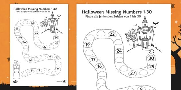 Halloween Spooky House Missing Numbers To 30 Worksheet