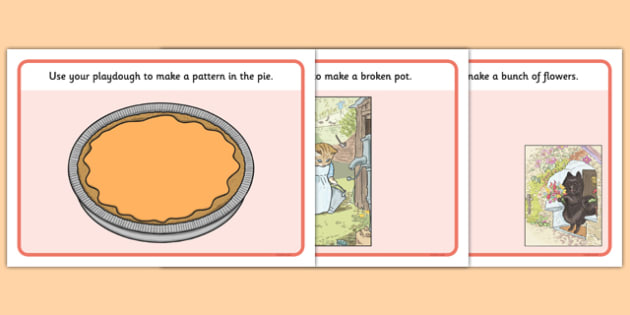 Beatrix Potter - The Tale of the Pie and the Patty-Pan Playdough Mats - beatrix potter, pie, patty pan, playdough mats