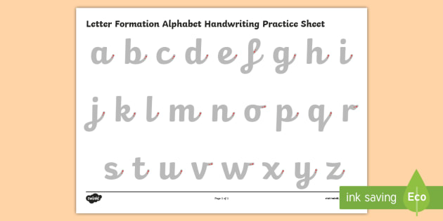 Letter Formation Alphabet Handwriting Practice Sheet (Lowercase) - letters, letter formation, formation, alphabet, handwriting, worksheet, handwriting worksheet