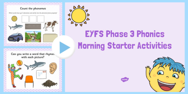 EYFS Phase 3 Morning Starter Activities PowerPoint