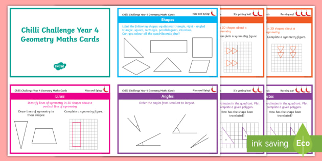 Year 4 maths geometry chilli challenge cards compare and year 4 maths geometry chilli challenge cards compare and classify shapes properties of 2d ccuart Images
