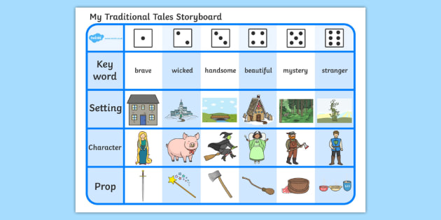 Traditional Tales Storyboard Activity Sheet, worksheet