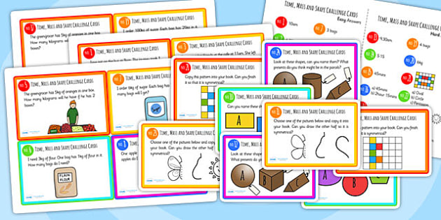 Time Mass And Shape Problem Solving Challenge Cards - time, mass