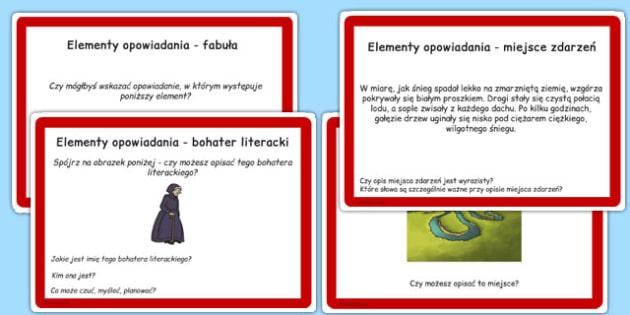 Karty do czytania ze zrozumieniem Elementy opowiadania po polsku