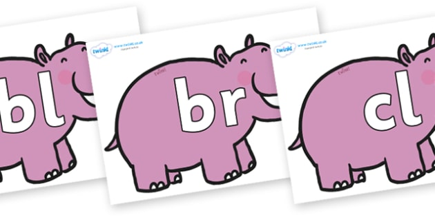 Initial Letter Blends on Hippos - Initial Letters, initial letter, letter blend, letter blends, consonant, consonants, digraph, trigraph, literacy, alphabet, letters, foundation stage literacy