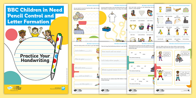 BBC Children in Need Pencil Control and Letter Formation Handwriting Activity Booklet