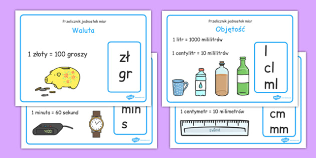 Plakaty na gazetkę Jednostki miary po polsku - matematyka - polish, measurement conversion, display, poster, sign, banner, measuring, measurement, convert, converting, kilometres, metres, centimetres, millimetres, kilograms, grams