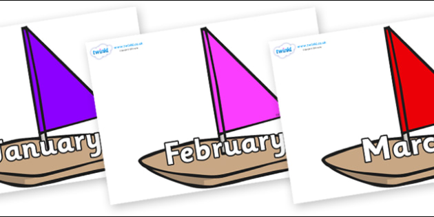 Months of the Year on Toy Boats - Months of the Year, Months poster, Months display, display, poster, frieze, Months, month, January, February, March, April, May, June, July, August, September