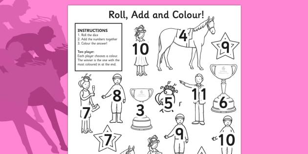The Melbourne Cup Roll and Colour Worksheet - australia, melbourne cup, roll, colour, worksheet