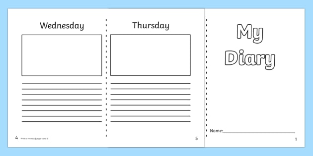 Diary template ks1 7 day diary writing frame diary for Diary writing template ks1