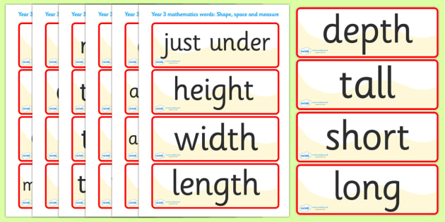 Shape Space Measure Vocabulary Cards (Year 3) - shape, space, measure, vocabulary, vocab, cards, card flashcards, year 3, year three, shapes, space, measures, measuring