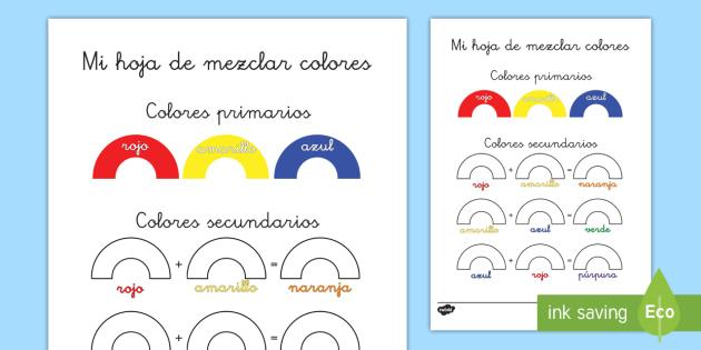 Ficha de actividad: Mezclar colores - ficha de actividad