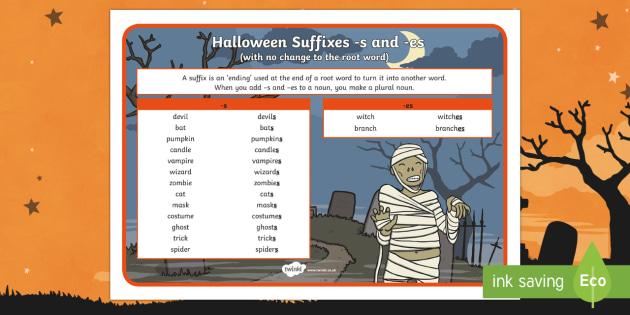 Halloween Plural Noun Suffixes Word Mat