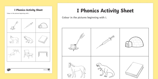 i Phonics Colouring Activity Sheet - Republic of Ireland, Phonics Resources, sounding out, initial sounds, phonics assessment, activity s