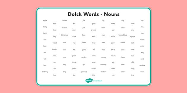 Dolch Words Word Mat Nouns - usa, america, dolch, word, word mat, mat, nouns