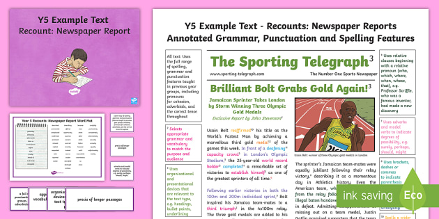 Y Recounts Newspaper Report ModelExample Text  Genre
