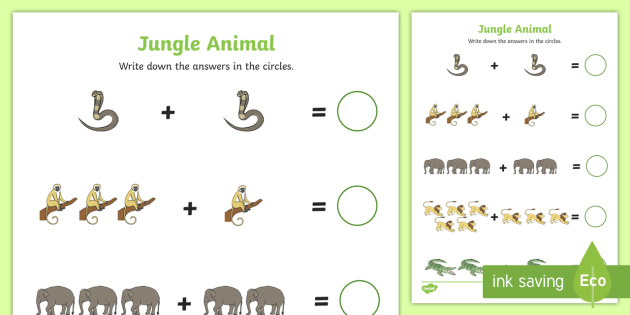 Jungle Animal Themed Addition Sheet - walking through the ...