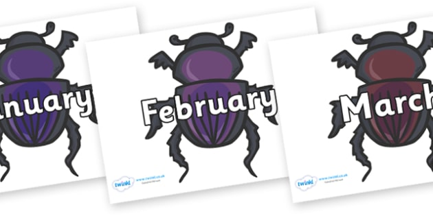 Months of the Year on Egyptian Beetles (Scarab) - Months of the Year, Months poster, Months display, display, poster, frieze, Months, month, January, February, March, April, May, June, July, August, September