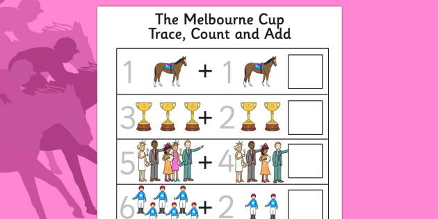 Melbourne Cup Trace, Count and Add Activity Sheet - australia, melbourne cup, trace, count, add, worksheet