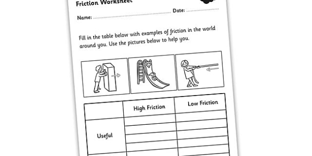 Friction Worksheet - friction, friction and resistance, high and