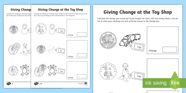 ks1 maths giving change at the toy shop worksheet worksheets money. Black Bedroom Furniture Sets. Home Design Ideas